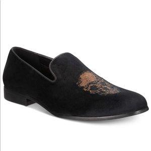 I.N.C Men Black Nova Velvet slipper plain toe shoe